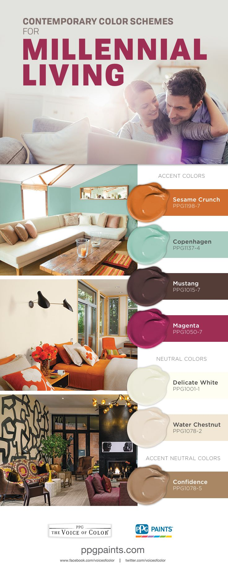 Contemporary Color Schemes For Millennial Living This Paint Color Palette Is Suited For Millennia Millennial Color Palette Paint Color Palettes Color Schemes