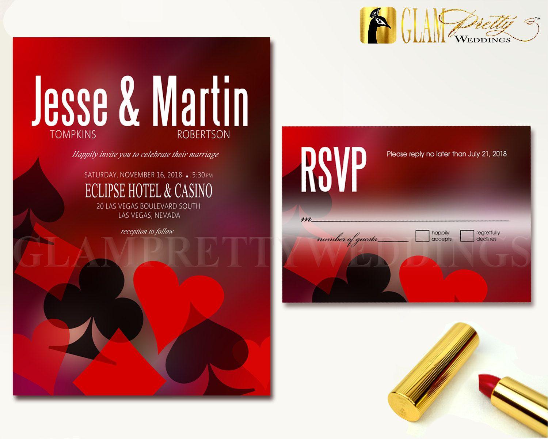 Las Vegas Wedding Invitation & RSVP card Red by GlamPrettyWeddings ...