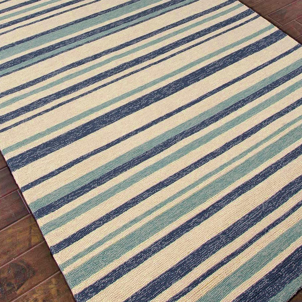Eternity Landscapes Ocean Area Rug: Outdoor Indoor Varying Stripes Rugs: Navy/aqua/cream 7.6 X