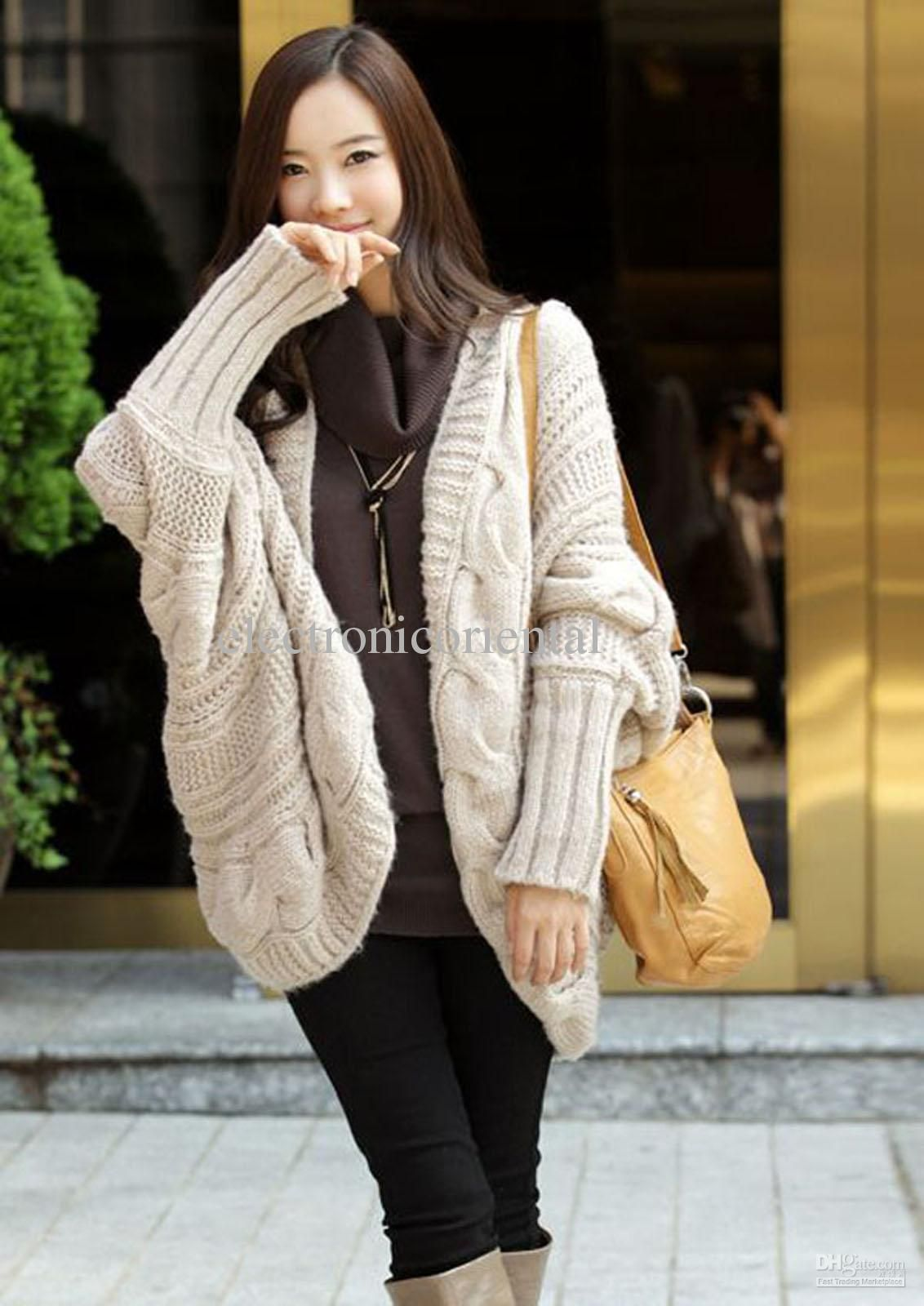 b322ecc61bd Batwing Sleeve Loose Style Slouchy Knit Pattern Sweater Coat Cape Ponch L   thf From Electronicoriental