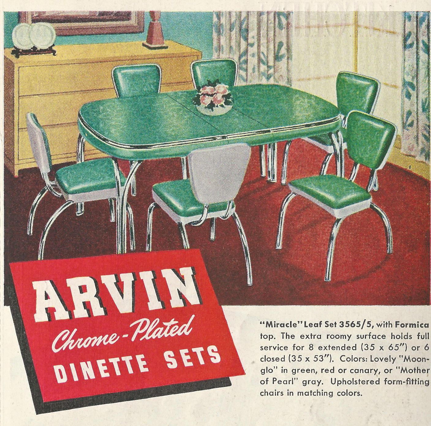 Vintage Kitchen Decor. 1950s. Original Ad for Arvin Dinette Set.  #vintage decor #retro #kitchen #dinette #arborite #1950s