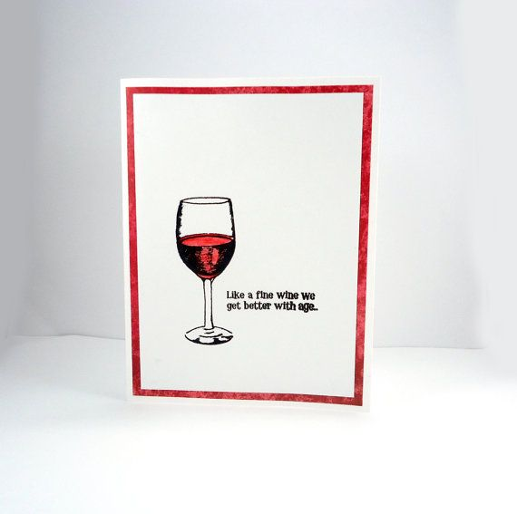 Wine Birthday Card Funny By PiecesOfMePaperCraft