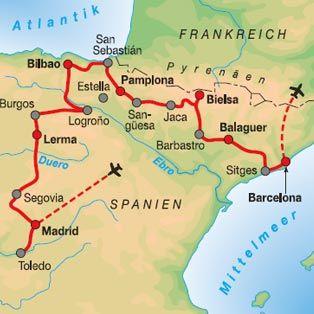 Mapa De Los Pirineos.Barcelona Sitges Los Pirineos Espana Pais Vasco