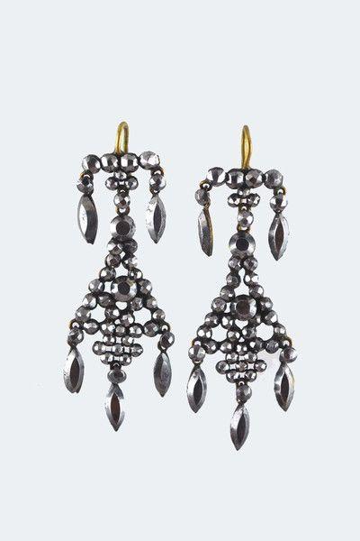 Antique Cut Steel Ornate Drop Earrings