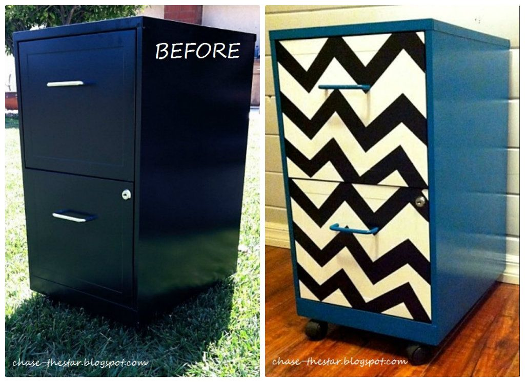 Metal File Cabinet Makeover Collage