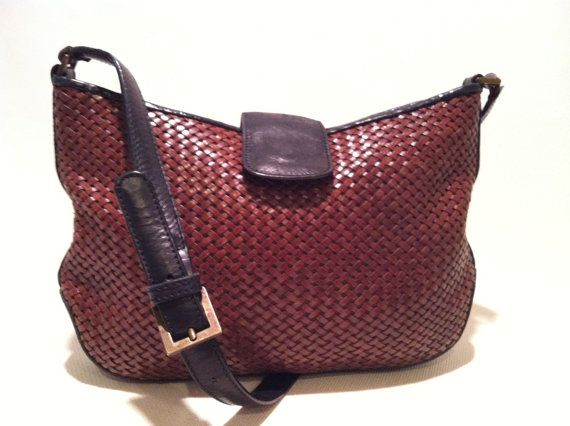 Vintage Brown Leather Bag Talbot Woven By Haalandia 30 00