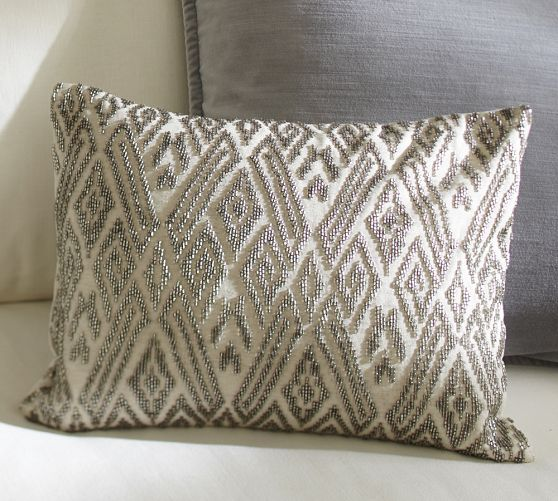 Maddie Beaded Lumbar Pillow Cover Pottery Barn