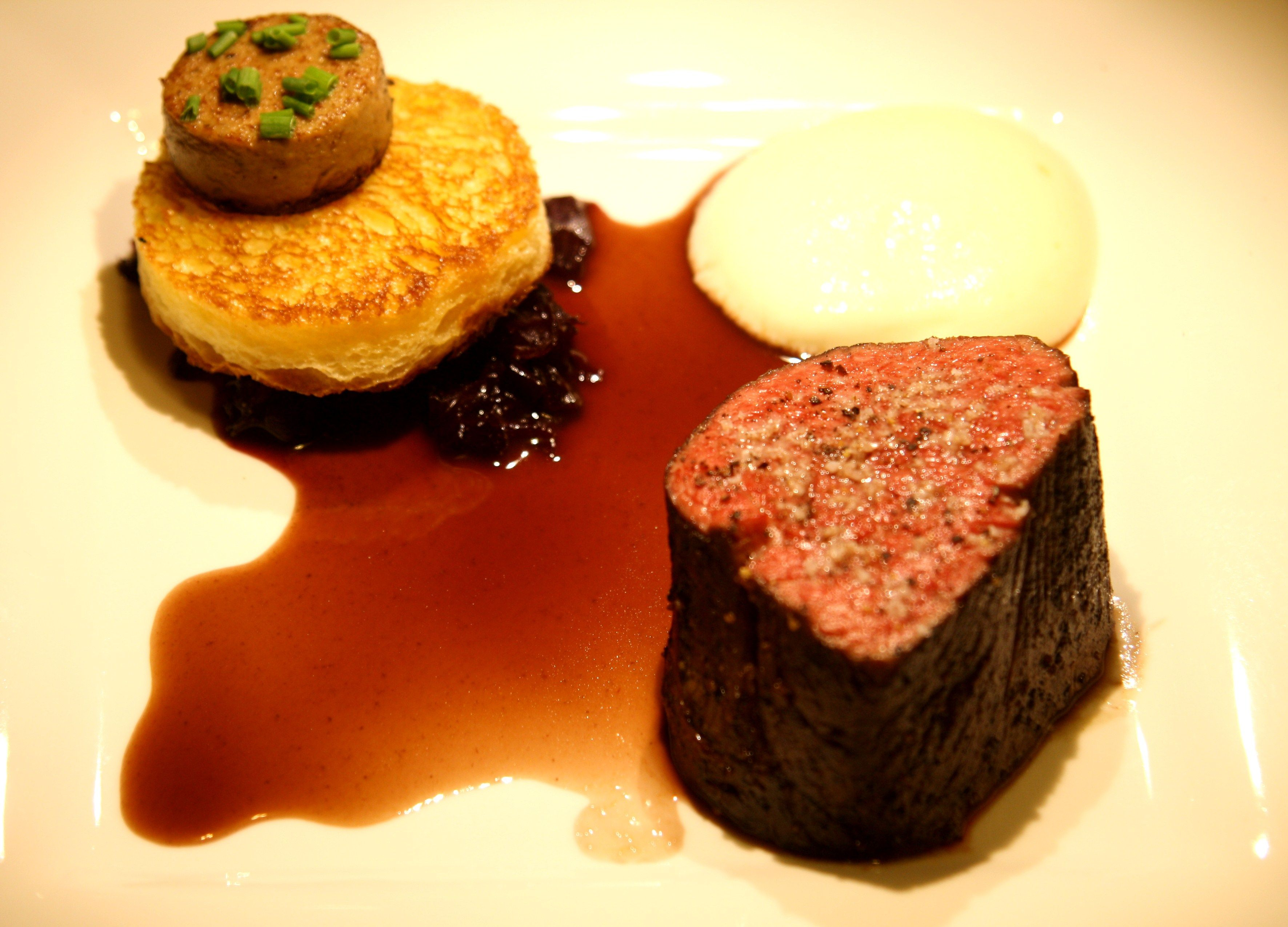 Beef Tenderloin Red Wine Braised Onions Brioche Truffle Mousse Potato Foam Bordelaise Sauce Bordelaise Sauce Truffle Mousse Beef Tenderloin