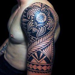 Polynesian Turtle Half Sleeve Tattoo Tribal Turtle Tattoos Tribal Tattoos For Men Tribal Arm Tattoos