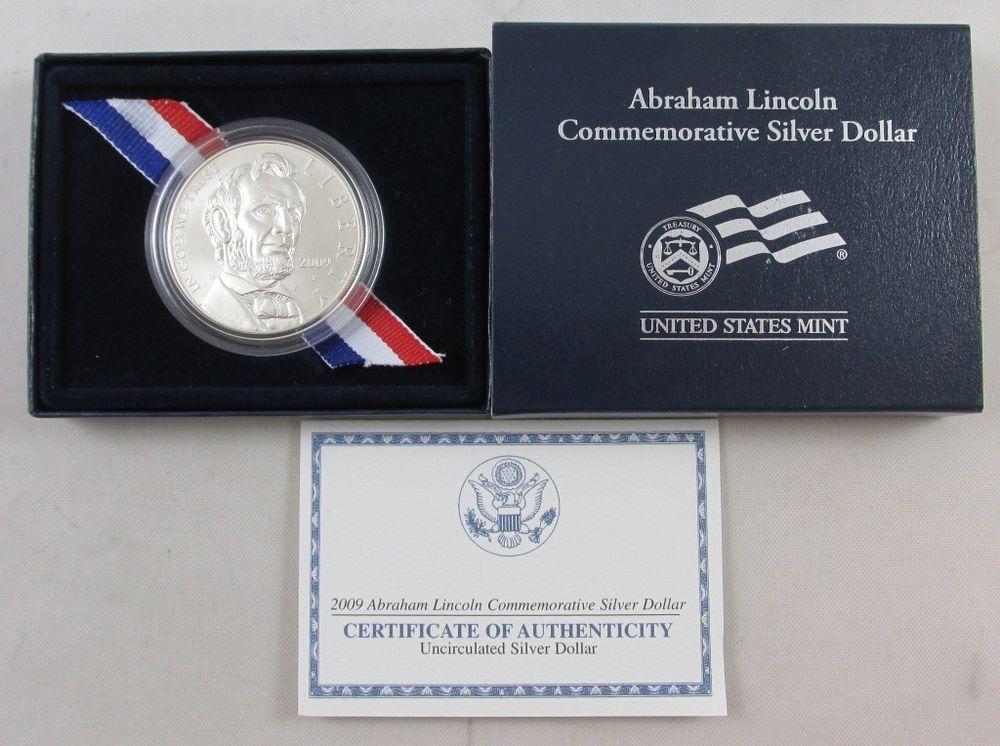 2009 P Abraham Lincoln BU 90/% Silver Dollar Commemorative US Mint Coin Box /& COA