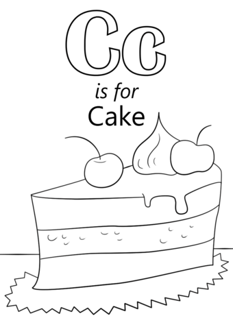 Letter C is for Cake coloring page from Letter C category. Select ...