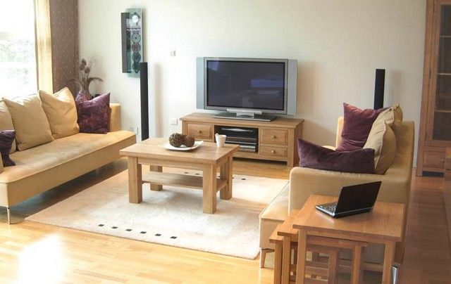 Living Room Furniture Ideas For Small Spaces : TV Cabinets 2 Wooden Tables Living  Room Furniture