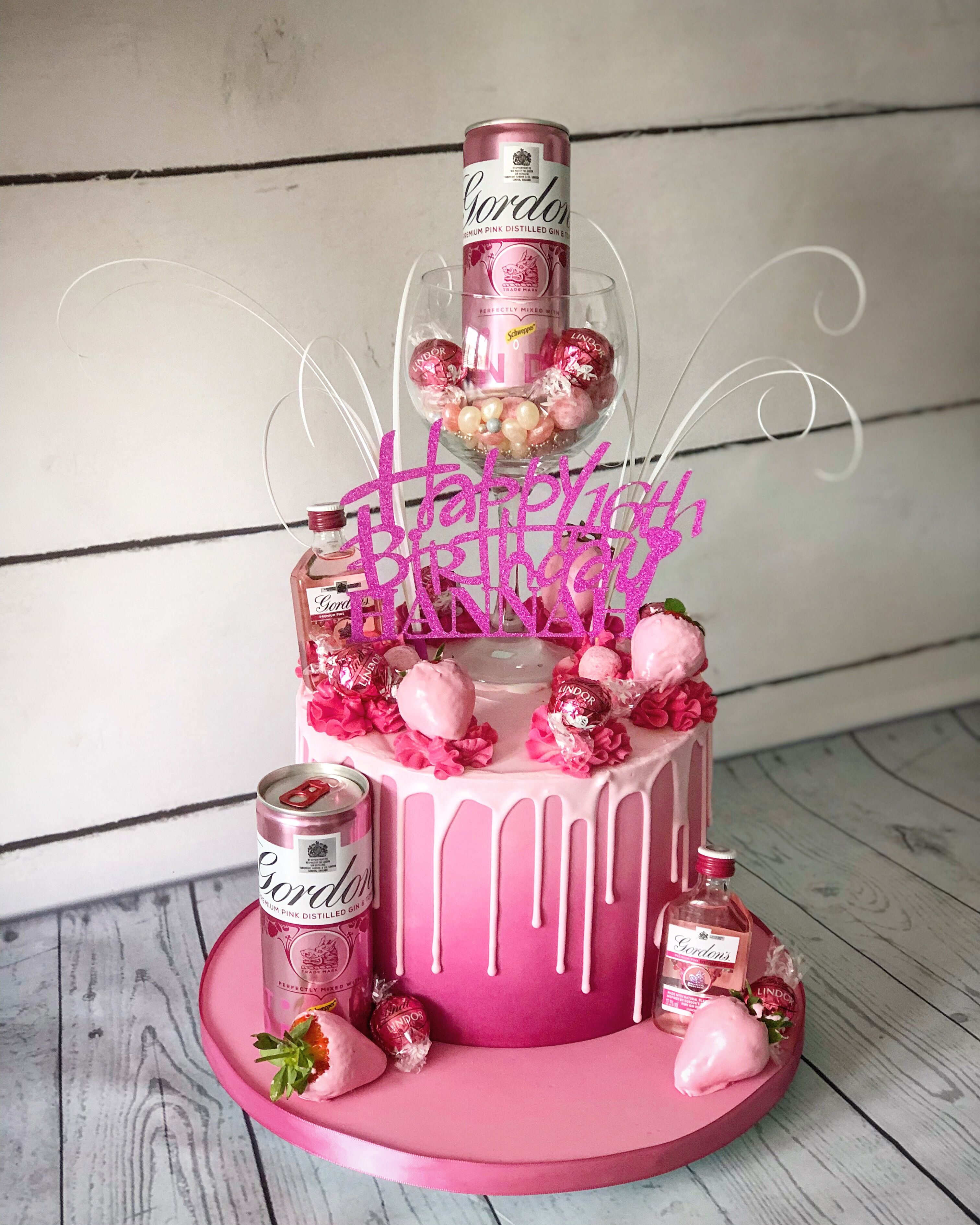 Pink Gin Drip Cake With Lindt Chocolates And Chocolate Dipped