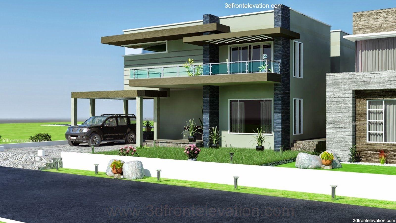 3D Front Elevationcom 2 2 KANAL DHA Karachi MODERN CONTEMPORARY