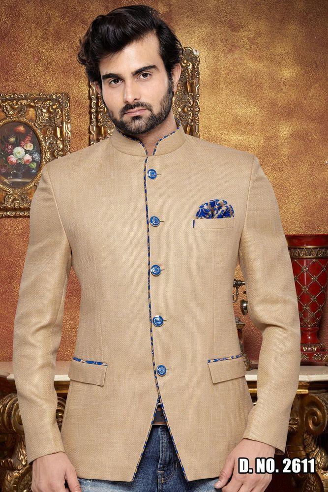 Beige Men Jodhpuri Prince Coat Pant Indo Western Jacket Groom Blazer Kurta Suit