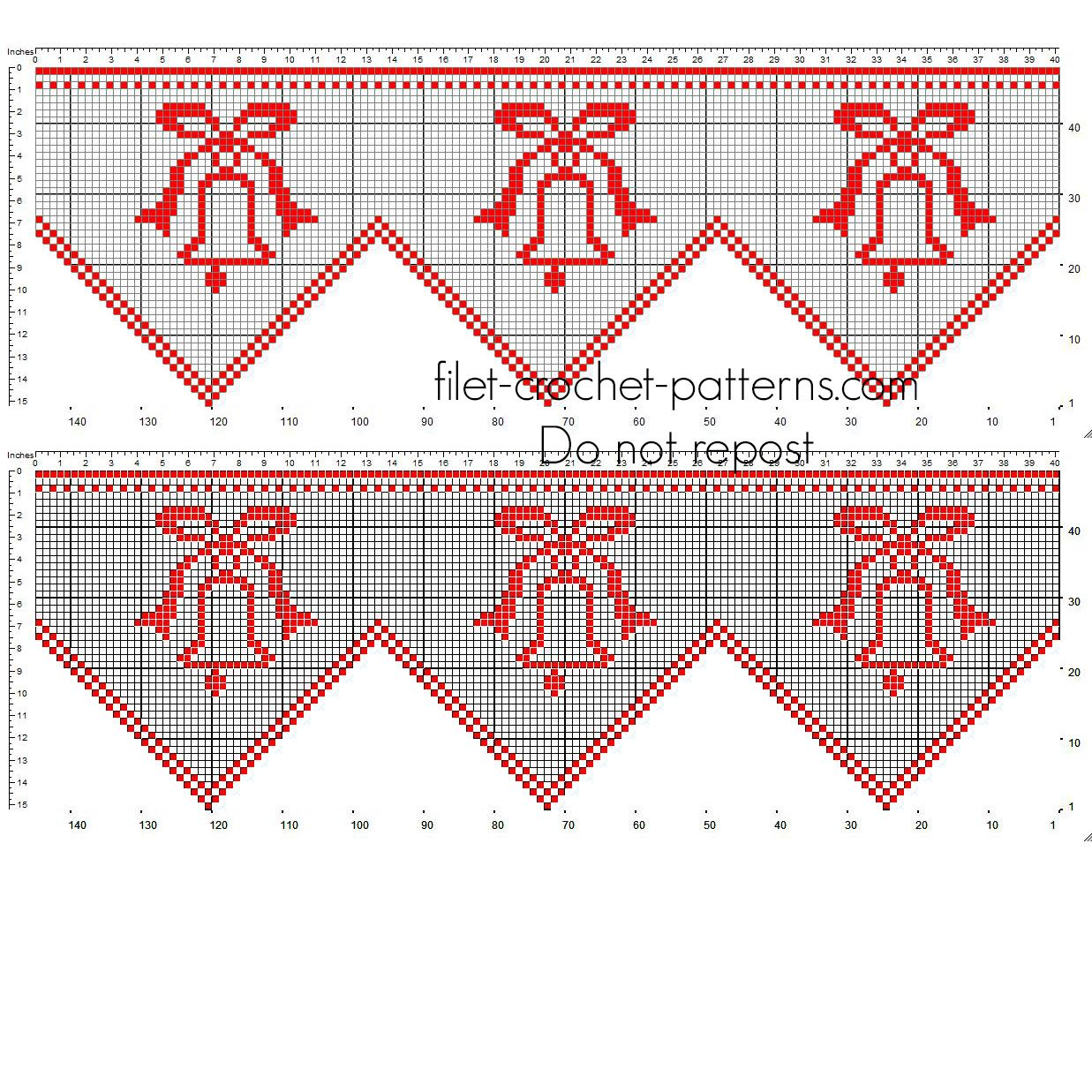 Free pattern Christmas red border crochet filet with Christmas bells ...