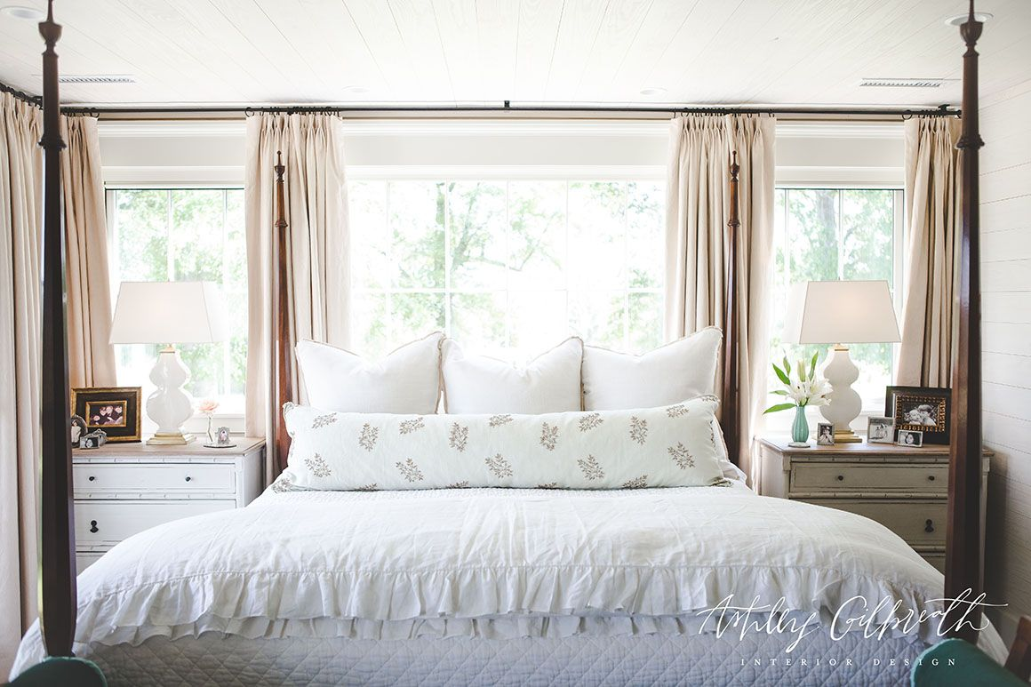Bed with window behind it  portfolio  ashley gilbreath interior design  bedroom  pinterest