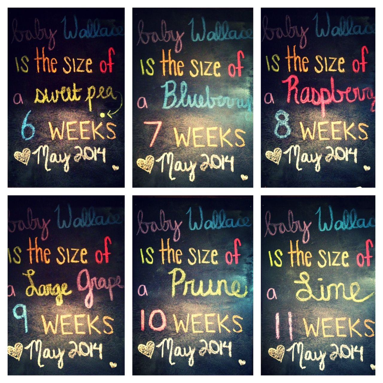 1st Trimester Chalkboard 6 Weeks Pregnant 7 Weeks