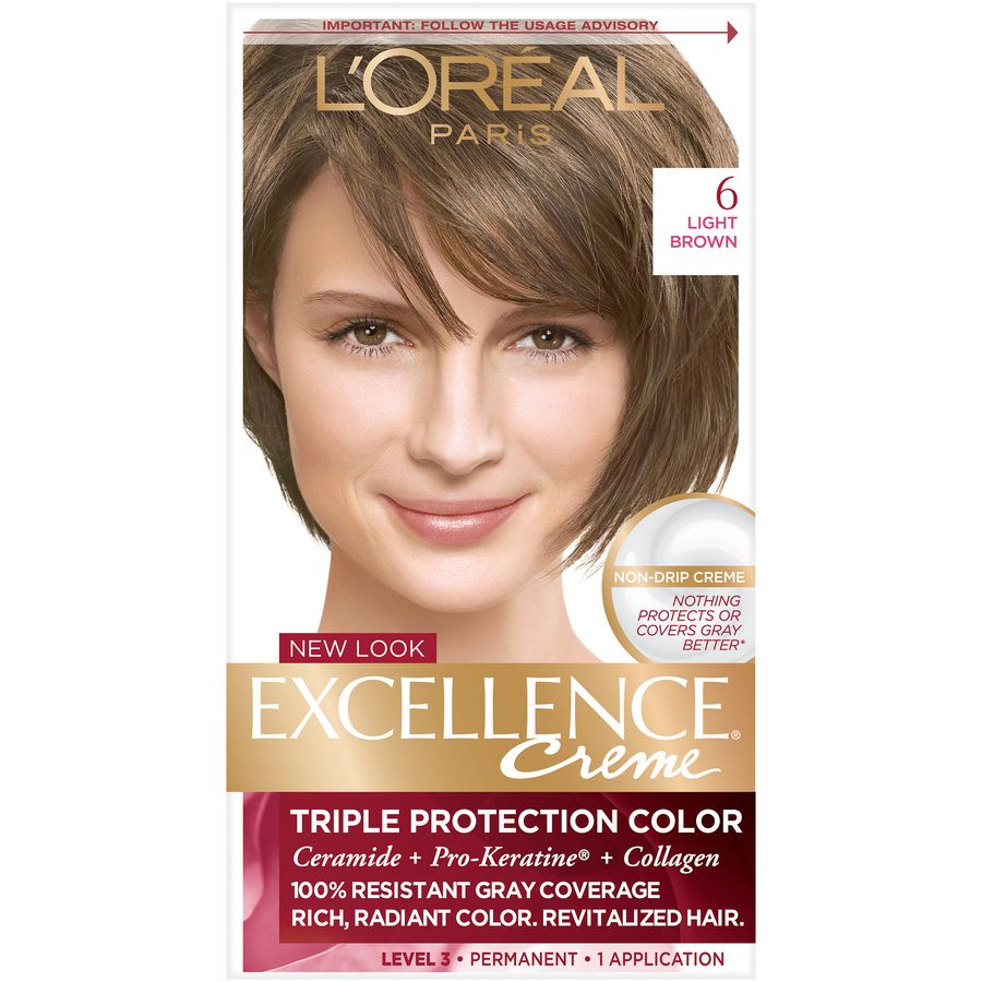 L Oreal Paris Excellence Creme Permanent Triple Protection Hair Color 6 Light Brown 1 Kit Walmart Com In 2021 Loreal Hair Color Best Hair Color Brand Permanent Hair Color