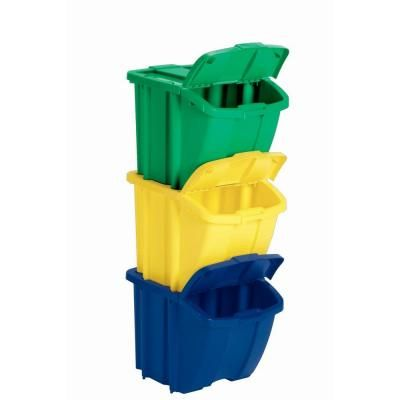 Home Depot Recycling Bins Custom Recycle Bin Set 60Piece GreenYellow And Blue House