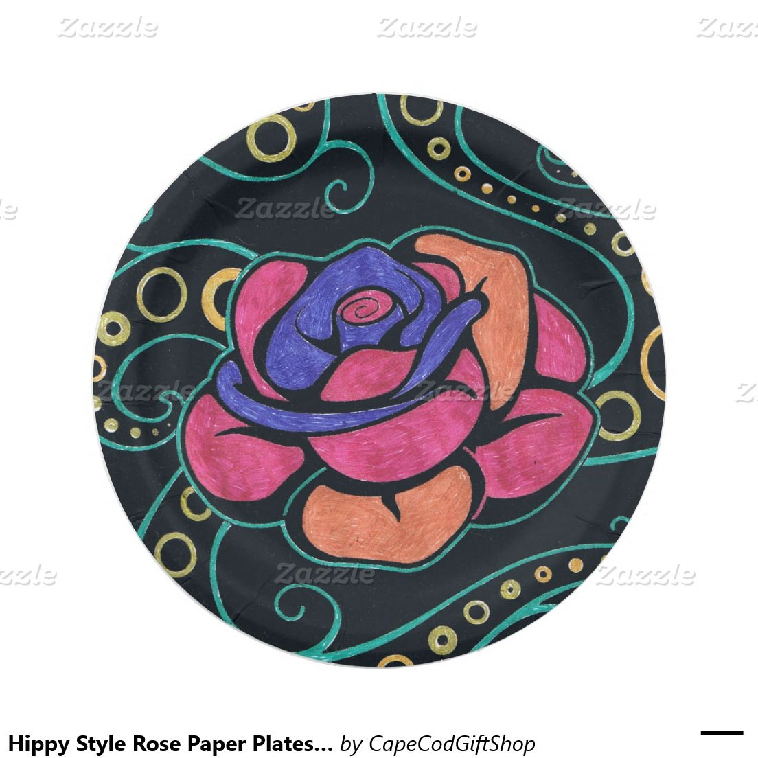 Hippy Style Rose Paper Plates 7  7 Inch Paper Plate  sc 1 st  Pinterest & Hippy Style Rose Paper Plates 7