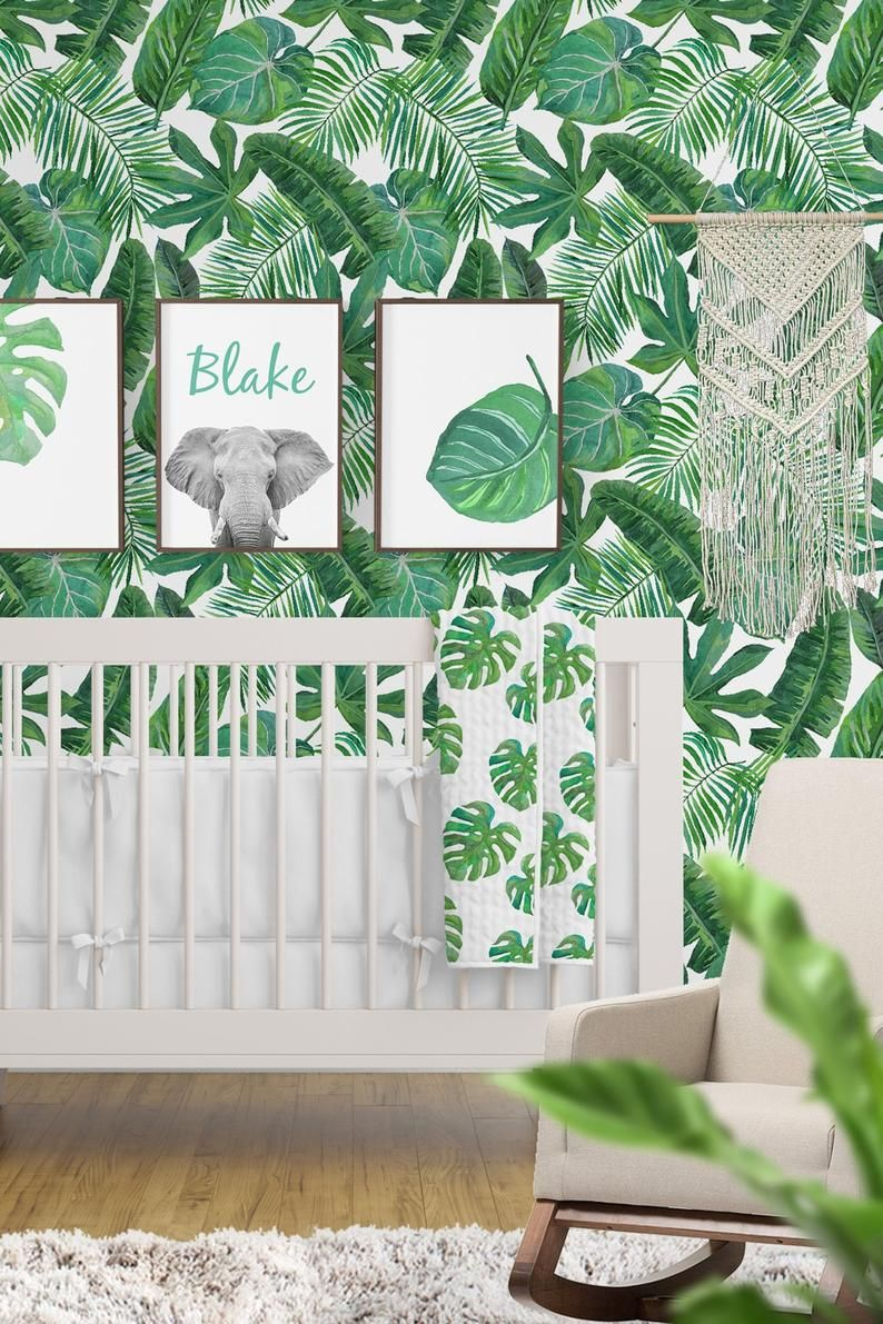 Removable Wallpaper Tropical Palm Leaf Banana Leaf Safari Etsy Nursery Wallpaper Safari Nursery Wallpaper Nursery Baby Room #safari #decorating #ideas #for #living #room