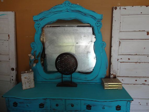 TURQUOISE shabby chic dresser and mirror by TheVintageGoodyShop, $475.00