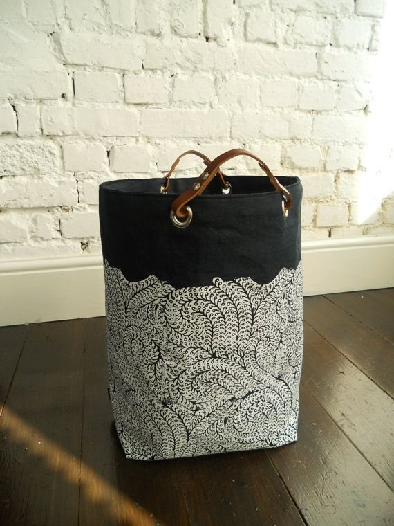 Extra Large Indigo Hamper hand block printed with by papatotoro