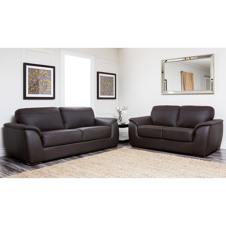 Montclair top grain leather sofa and loveseat set sams club