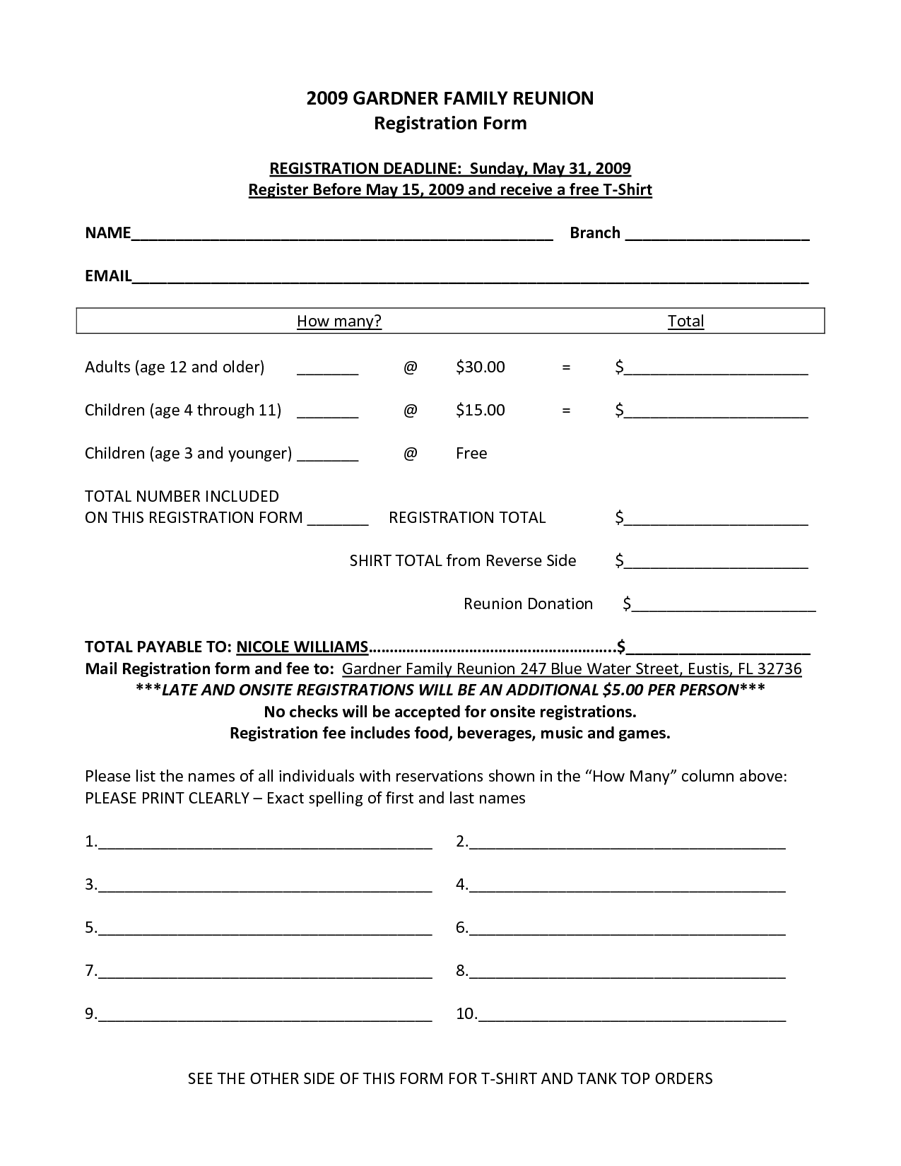 Family Reunion Registration Form Template  Paper Registration Form Template