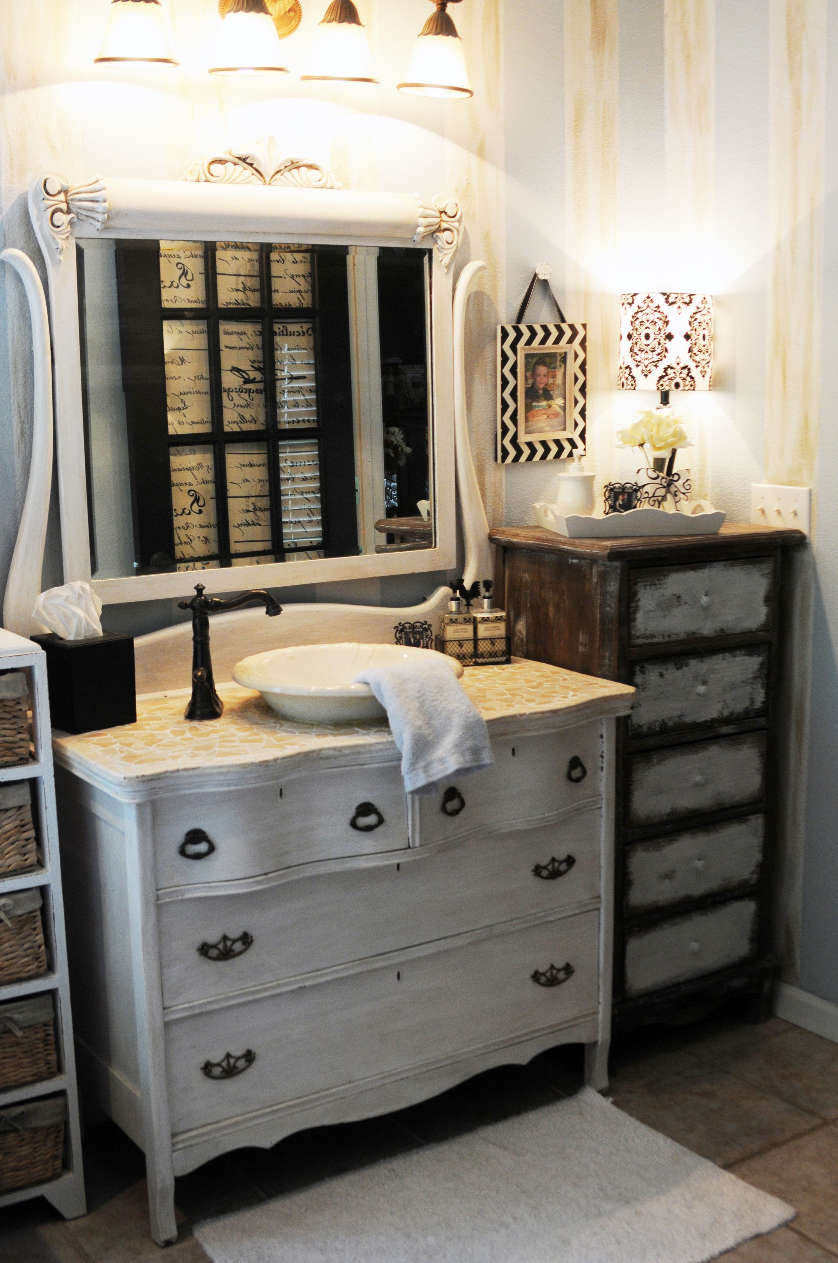 Antique dresser made into a bathroom sink for the home - Unique bathroom vanities for small spaces ...