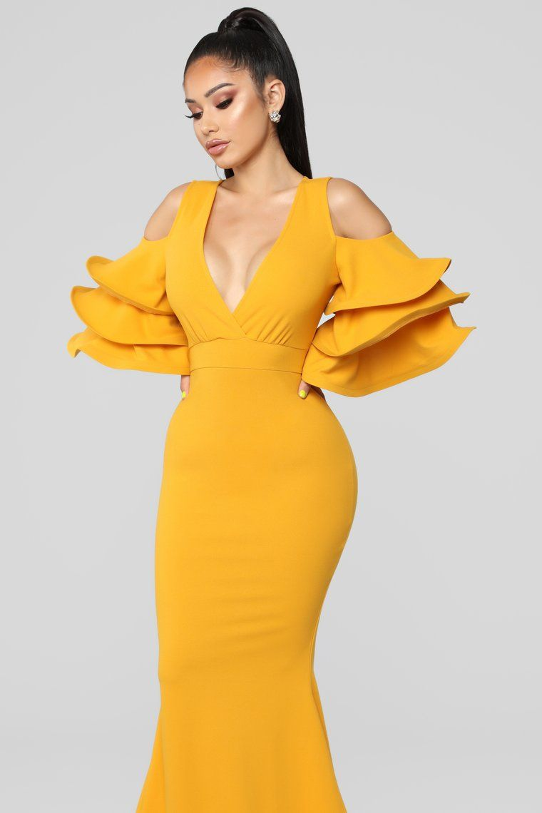 Love In The Air Dress Mustard Classy Dress Mustard Dress Outfit Lace Dress Styles