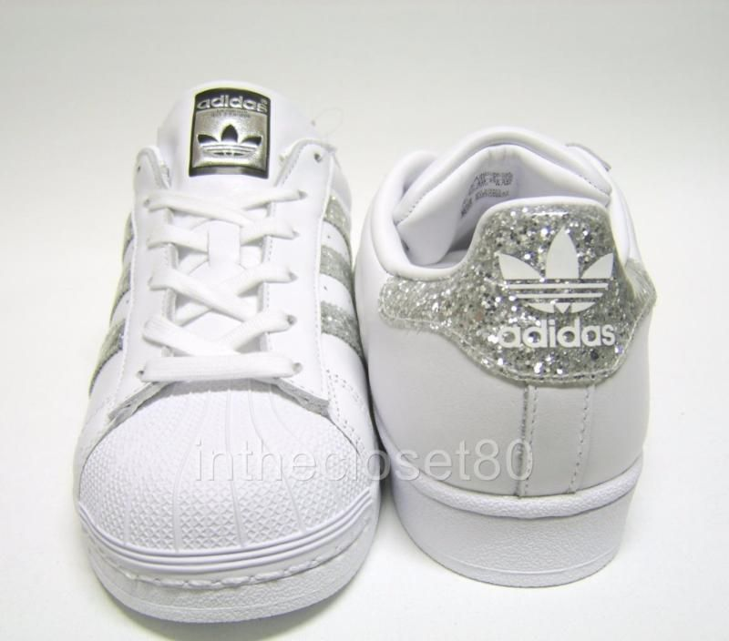 meet 31fc5 8d2f5 Adidas Superstar White Metallic Silver Glitter Black Womens Trainers S76923