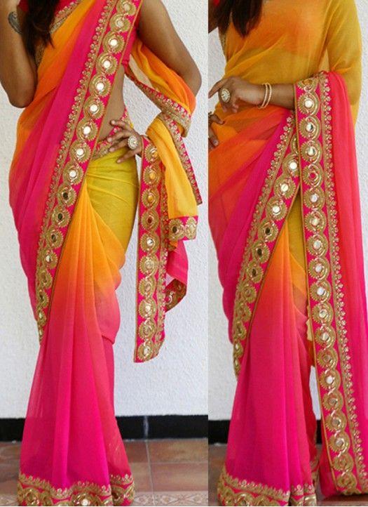 5982d83db32c41 New Pink & Yellow Georgette Padding Designer Saree   Designer Sarees ...