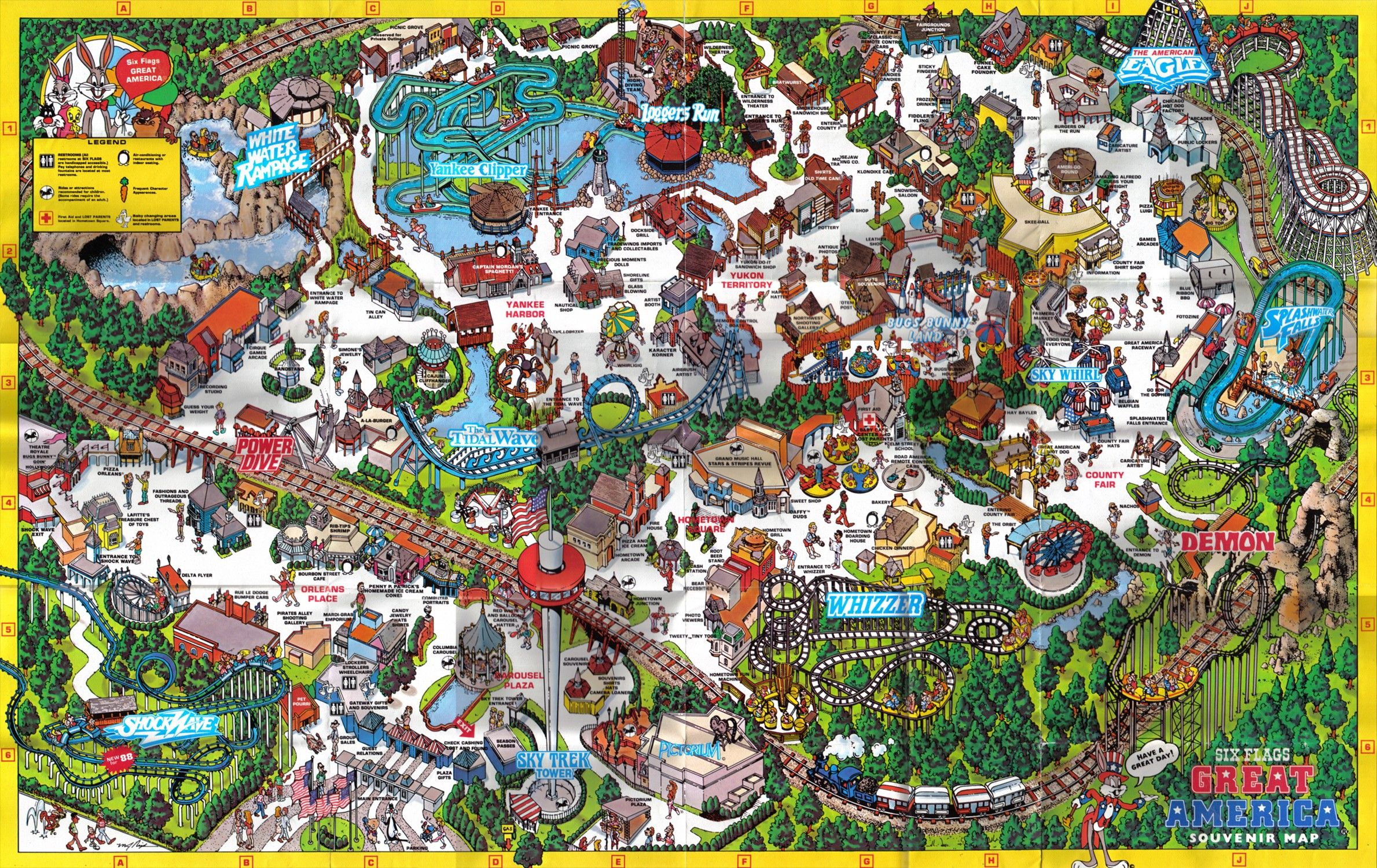 Map Of 6 Flags Great America.Pin By Toonamp On Animals Six Flags Astroworld Houston Park