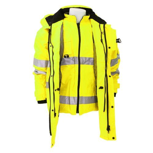 Yoko Hi Vis Multi Function Breathable Waterproof 7 In 1 Jacket L Hi Vis Yellow Outer Jacket Conforms To En471 Class 3 E Jackets Outer Jacket Clothes