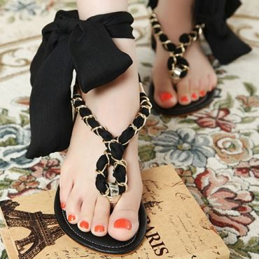 Fashion Floral Print Silk Belt Solid Black Flip Flops at ILoveCuteShoes.com