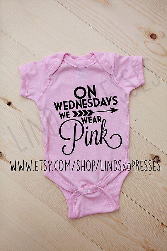 Funny Baby Onesie  Mean Girls Inspired Baby Onesie  On Wednesdays We Wear Pink Onesie  Baby Shower Gift  Baby Girl Clothes  Onesie