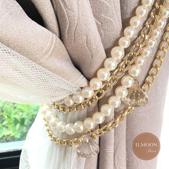 Fourfold Crystal And Gold Curtain Tie Backs Decorative Curtain