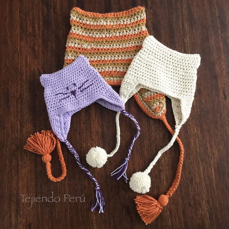Crochet paso a paso: gorro o chullo con orejas de gatito en 3 tallas ...
