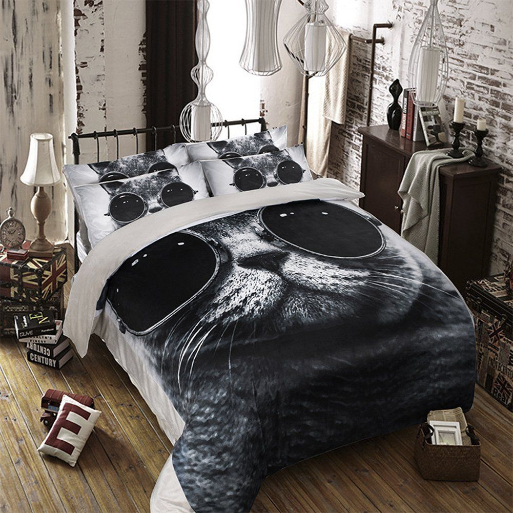 MeMoreCool Fashion Cat with Glasses Coral Fleece Bedding