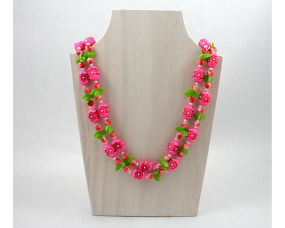 "Vintage 1960s long pink plastic flower bead necklace, green, white, red, costume jewelry, 50"" inch long, made in Hong Kong, spring, summer from  SmilingCatVintage"