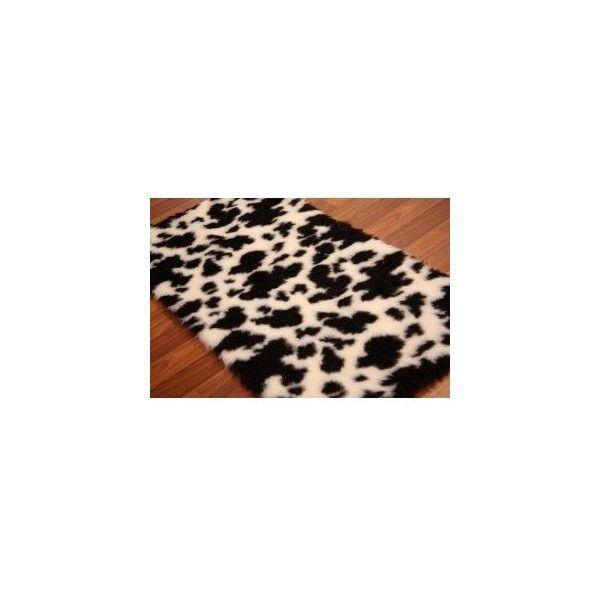 Black White Spots Cow Print Faux Sheepskin Rug Soft Thick