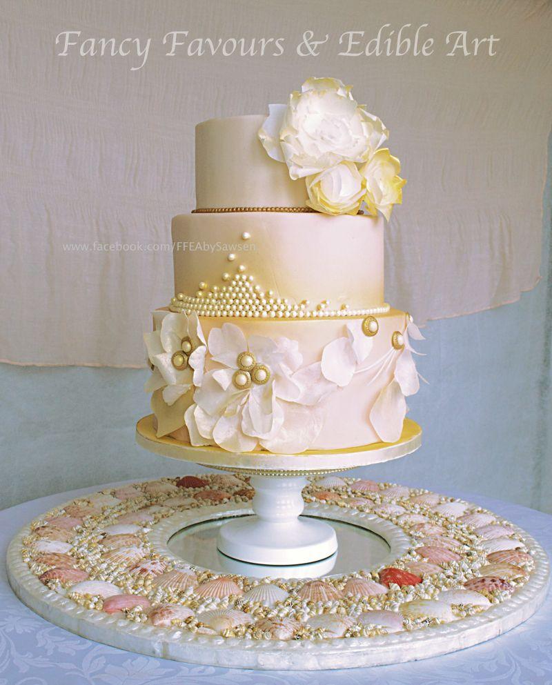 Soft Peach Pearl Gold Wedding Cake