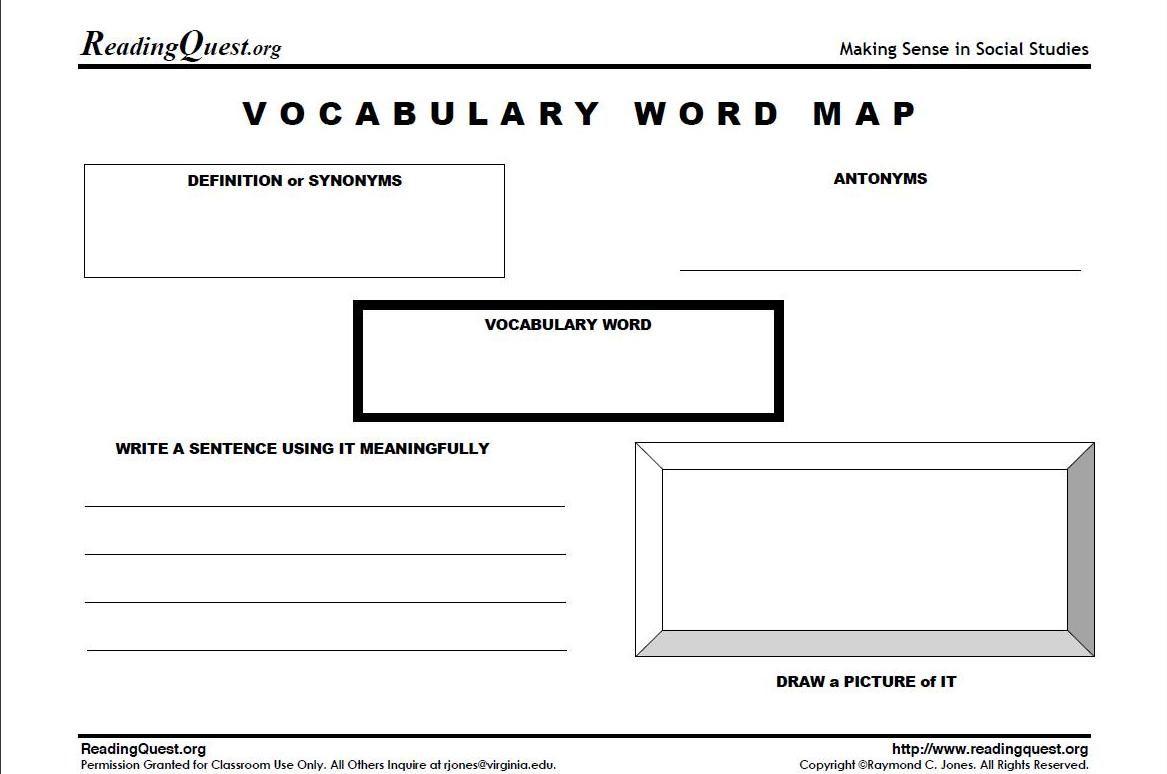 Vocab Worksheet Ideas