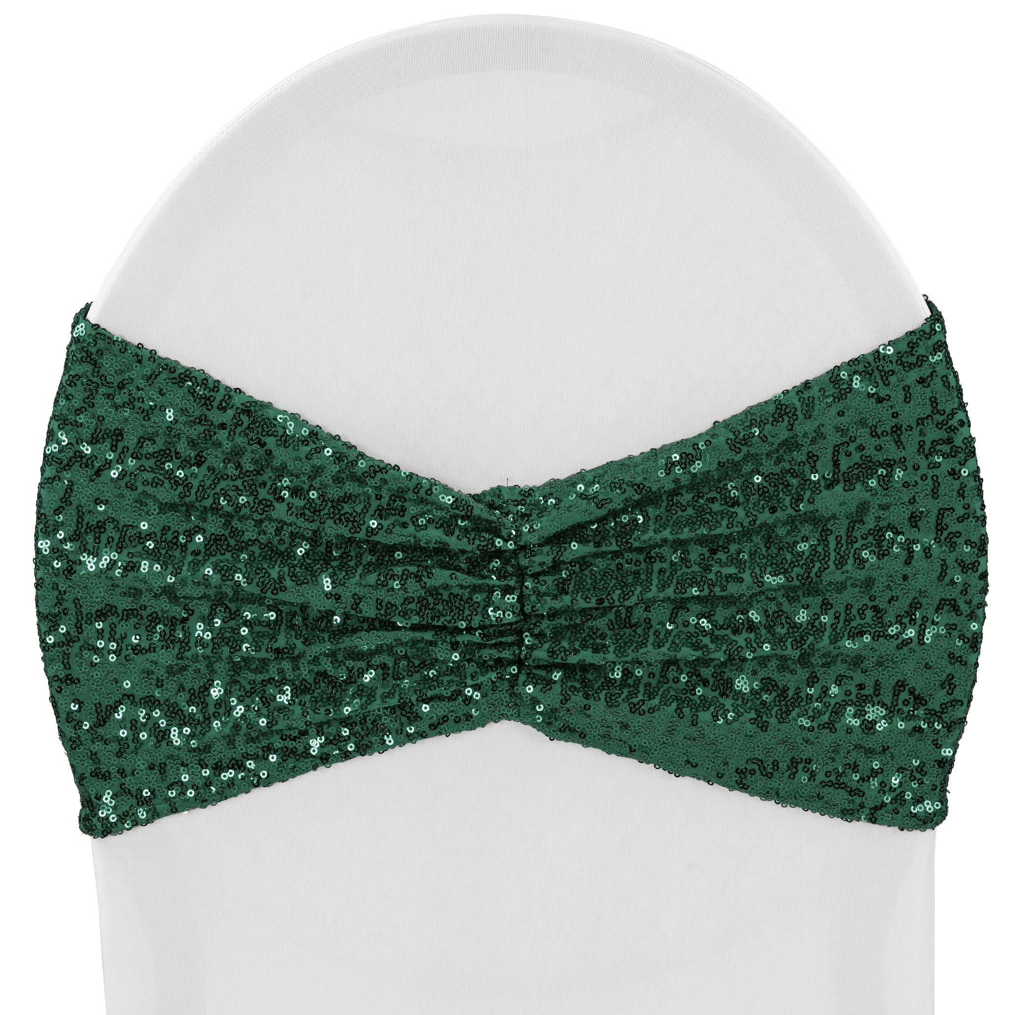 Glitz Ruffle Sequin Spandex Chair Band Sash Emerald Green