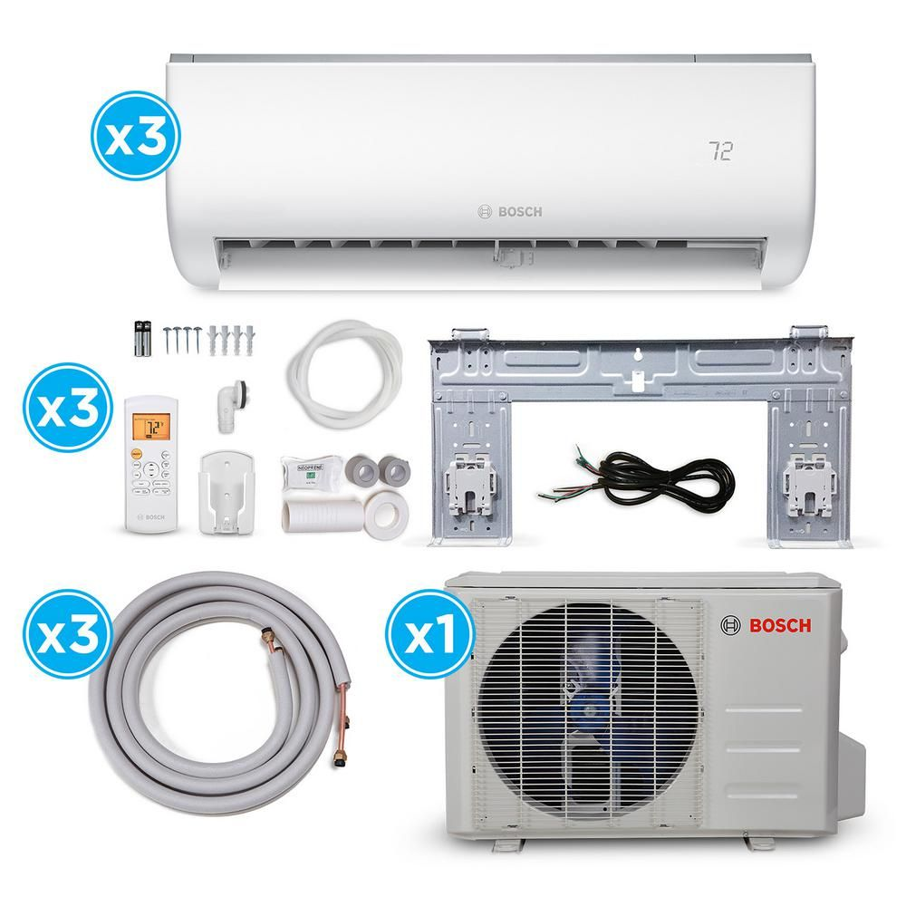 Bosch Gen 2 Energy Star 3 Zone 27 000 Btu 2 25 Ton Ductless Mini Split Air Conditioner With Heat Pump 230 Volt 8733954450 In 2020 Heat Pump Heat Pump System Electricity Usage
