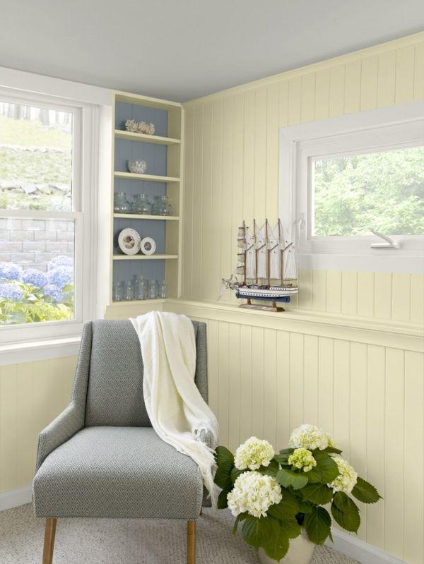 farbpalette wandfarben holzpaneele streichen gelb pastellfarben - gelbe dekowand blume fr wohnzimmer