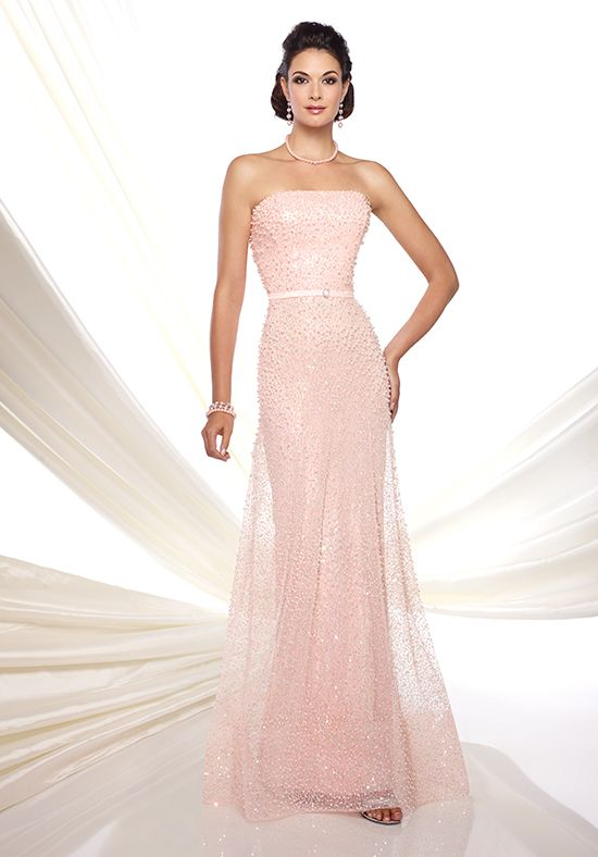 Strapless hand-beaded tulle fit and flare gown with belted natural ...