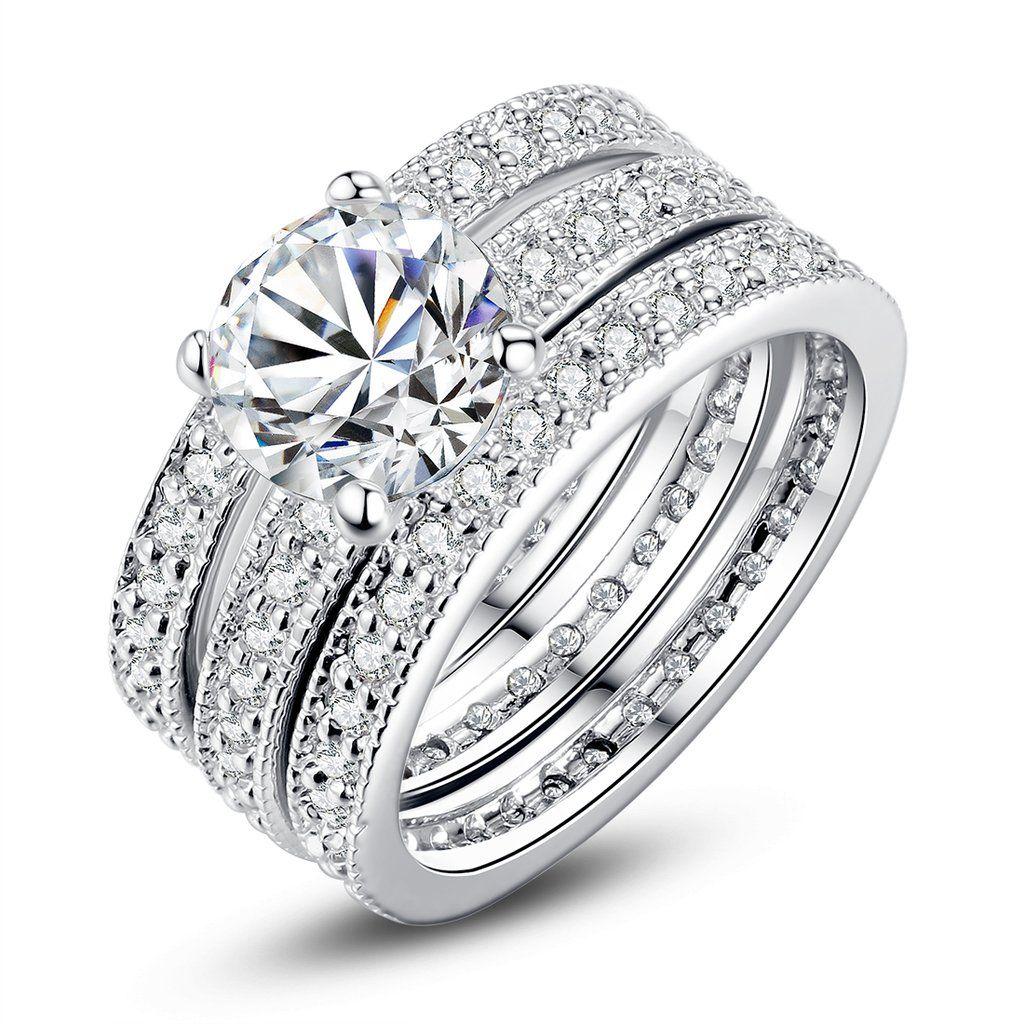 Fashionable Cubic Zirconia Princess Cut Engagement Bridal 3pcs Ring Set Goldplated Us Clearance Sale: Bridal Wedding Ring Sets Clearance At Websimilar.org